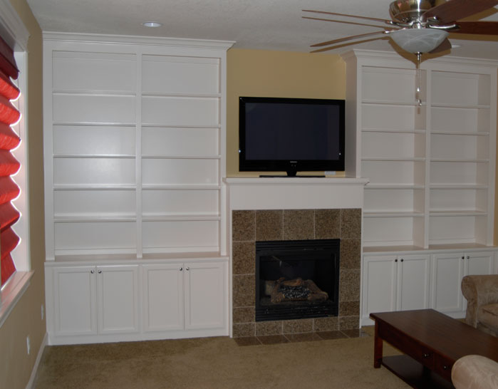 Fireplace with Bookcases On Sides